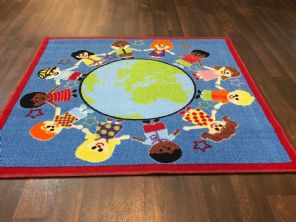 NEW KIDS WORLD LEARNING SCHOOL MAT RUG 100X100CM MULTICOLOUR NON SLIP
